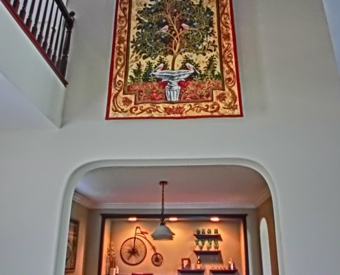 Foyer featuring wall tapestry in Temecula wine country
