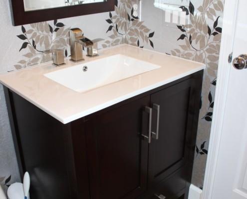 Modern bath remodel with wallpaper, linen tile and custom vanity