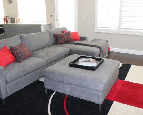 Modern living room with custom prosuede sectional