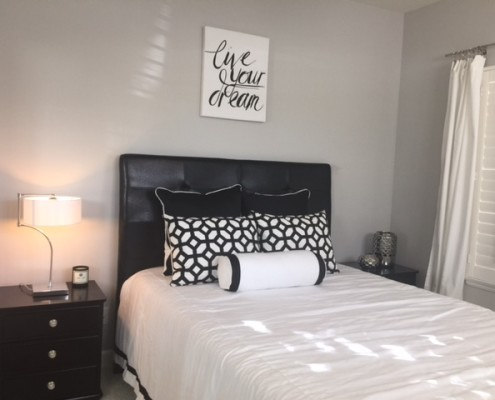 Modern guest room in black and white