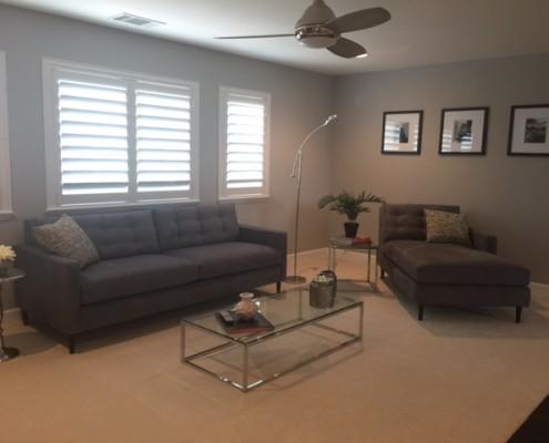 Modern loft featuring custom sofa and chaise