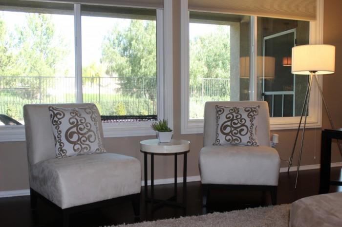 Custom armless chairs in a modern living room